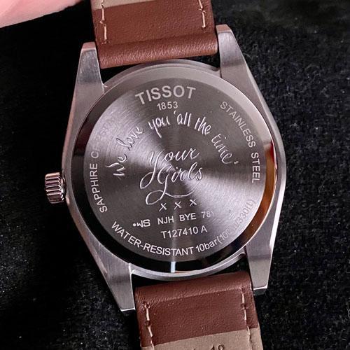 Hand engraved Tissot watch case