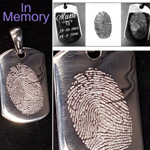 Fingerprint of a much loved Mum. The funeral home supplied the family with the original fingerprint, which was then engraved as a poignant piece of jewellery.