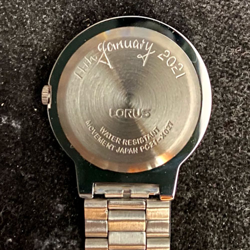 """Hand engraved nurse's watch from Mum and Dad for their newly qualified """"Angel"""""""