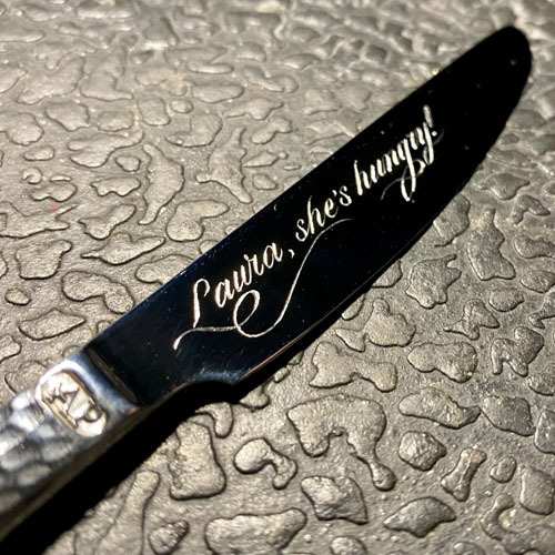 Hand engraved Arthur Price knife