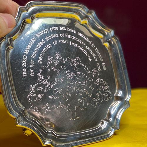 Silver salver machine engraving for a Los Angeles presentation