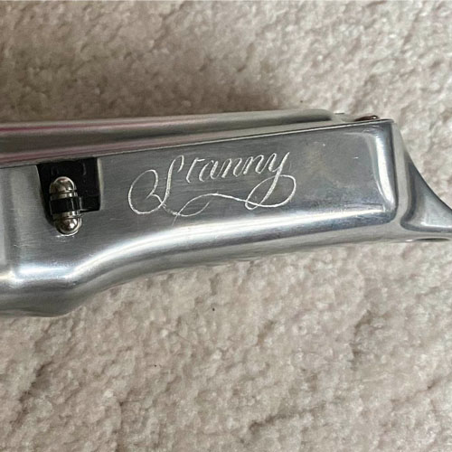 One of a pair of barber's shop clippers hand engraved