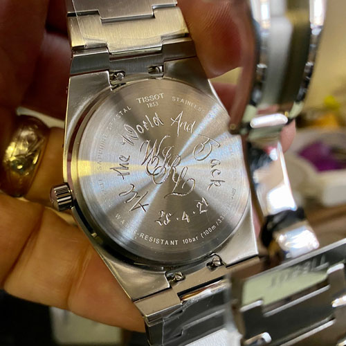 Hand engraved monogram and inscription on Tissot watch back