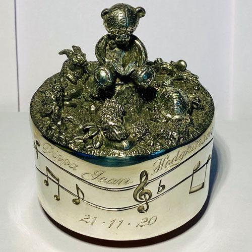 Hand engraved Royal Selangor music box