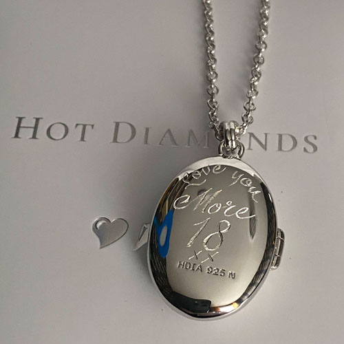 Hand engraved Hot Diamonds locket