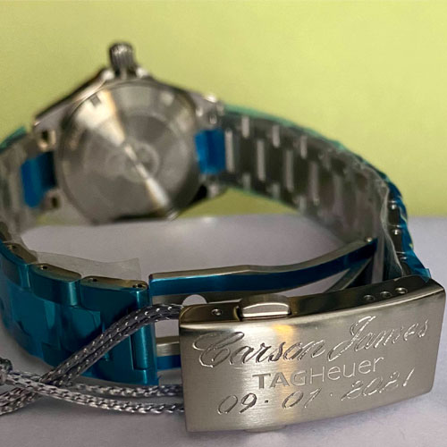 Hand engraved TAG Heuer watch clasp